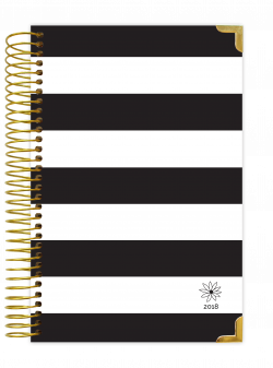 2018 Daily Planner, Black & White Stripes Hard Cover   College ...