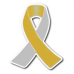 Silver and Gold Awareness Ribbon Sticker - The Unchargeables