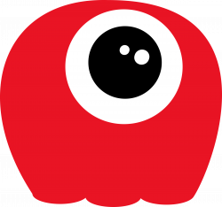 Clipart - Alien, red, one eye, no tentacles