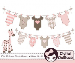 Onesie Bunting Banner Clip Art Baby Girl Shower by ...