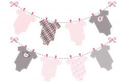 baby girl pink onesie bunting banner by Design Scraps on ...