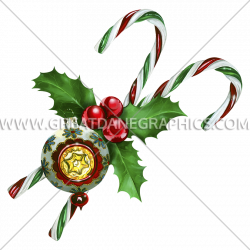 Candy Canes & Ornament | Production Ready Artwork for T-Shirt Printing