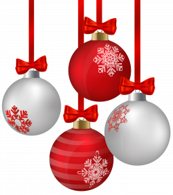 White and Red Hanging Christmas Ornaments PNG Clipart Image ...
