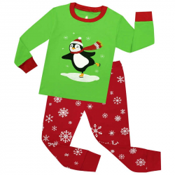 Full Sleeve Cotton Boys Green with Stitch Penguin Tops with Snowflake Pants  2 Pc Pajamas Sets Children Sleepwear Baby Christmas