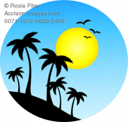 Clipart Image of Island Palm Trees Silhouetted Against the ...