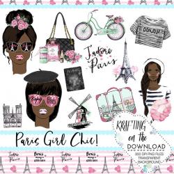paris clipart set watercolor paris girl clip art png file watercolor paris  african american planner girl clipart watercolor paris clip art