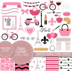 Paris Clipart Set, Pink Paris Clipart, 32 PNGs, 5 Paris Digital Paper JPGs,  Commercial Use