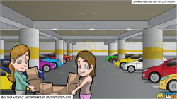 Two Women Carrying Boxes and An Underground Parking Lot Filled With Cars  Background