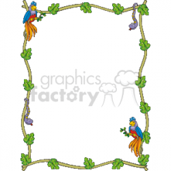 Parrots with a snake and leaves border clipart. Royalty-free clipart #  133960