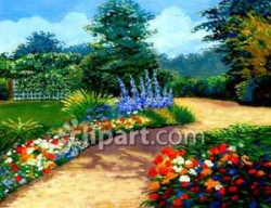Garden Path Through Flowers Royalty Free Clipart Picture
