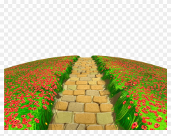 Stone Path With Flowers Ground Png Clipart - Garden Path ...