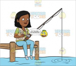 A Black Woman Patiently Waiting To Catch A Fish