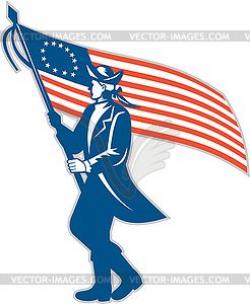American Patriot Soldier Waving USA Flag Circle - vector ...