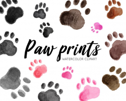 Paw print watercolor clipart, hand drawn clipart, commercial use, pet paw  clip art set