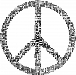 Clipart - 2018 Peace Sign Black