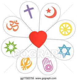 Vector Stock - Religions peace flower heart symbol. Clipart ...