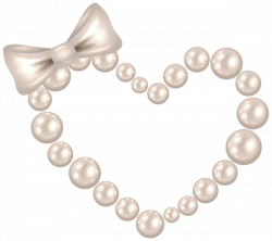 Pearl Heart with Bow Transparent PNG Clip Art Image | GINGERS HEART ...