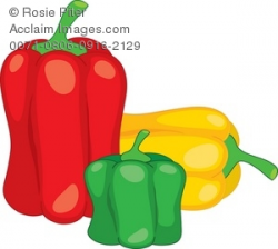 Clipart Illustration of Three Bell Peppers