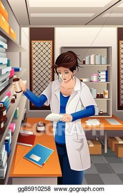 Clip Art Vector - Pharmacist working in the pharmacy. Stock ...