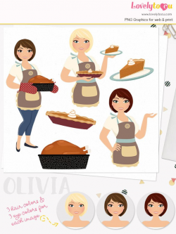 Thanksgiving woman character clipart, turkey, pumpkin pie, thanksgiving  pie, pie slice, autumn baker, fall clip art (Olivia L327)