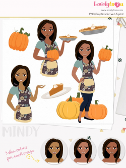 Pumpkin pie woman character clipart, pumpkin patch, baking pies,  thanksgiving pie, pie slice, autumn baker, fall clip art (Mindy L326)