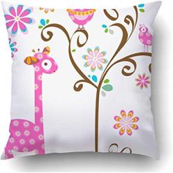 Amazon.com: Starogs Throw Pillow Covers Pink Girly Giraffe ...