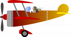 Clipart - Biplane 2 with a pilot [man]