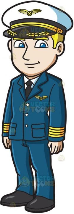 A Handsome Pilot Cartoon Clipart – Vector Toons inside Pilot ...
