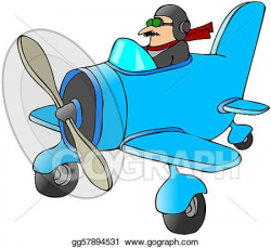 Stock Illustration - Pilot in a small plane. Clipart ...