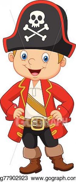 Vector Stock - Cartoon little boy pirate captain. Stock Clip ...