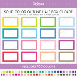 100 Solid Outline half box planner clipart blank outlined half boxes  rainbow printable planner stickers supplies commercial use