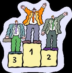 Entrepreneur Winner Stands on Podium - Vector Image