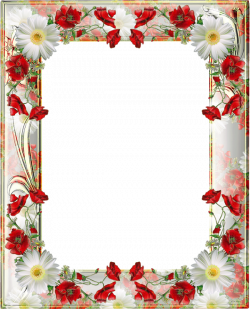 Transparent PNG Photo Frame with Yellow Poppies | marcos decorados ...