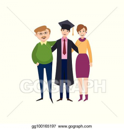 EPS Vector - Graduate student standing with proud parents ...