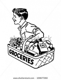 Grocery Delivery Boy - Retro Clipart Illustration - stock ...