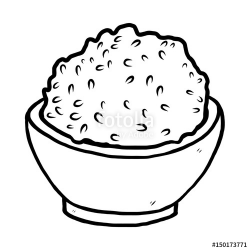 rice bowl / cartoon vector and illustration, black and white ...