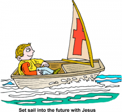 Image: Man in small sail boat | Christart.com