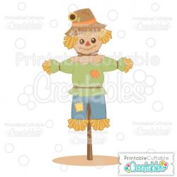 Cute Scarecrow SVG Cut File & Clipart for Silhouette & Cricut
