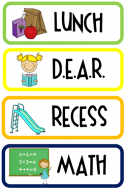 Daily School Schedule Clipart