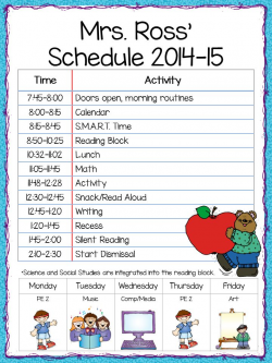 Elementary class schedule printable template word blank ...