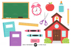 Back to School Clip Art, Schoolhouse Clipart, School Clip Art - Commercial  Use, Instant Download
