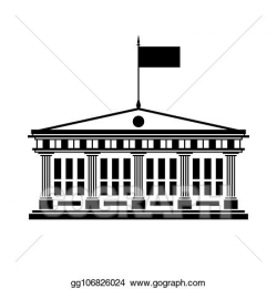 Vector Clipart - School house with a flag on the roof ...