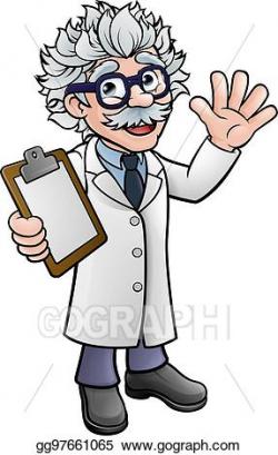 Vector Stock - Cartoon scientist professor with clipboard ...