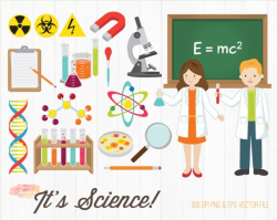 BUY 2 GET 1 FREE Science Clipart - Scientist Clip Art - back to school  clipart - school clip art - digital science poster -commercial use ok