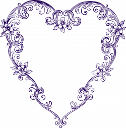 Free Images - Fancy Vintage Purple Heart Clip Art | Printables ...