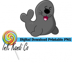 Gray Baby Seal - Boy - Sublimation and Printable - PNG - Digital Download  Clipart
