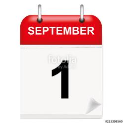 Daily calendar of single-leaf rings, red spine, 3d,september ...