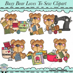 Busy Bears Love to Sew Clip Art | Clip Art on Craftsuprint ...