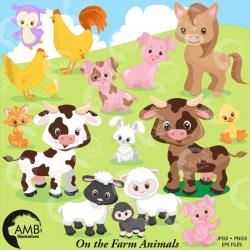 Farm clipart, farm animals clipart, farm digital clipart, sheep clipart,  barn clipart, cow clipart, sheep clipart, rooster clipart, AMB-1492