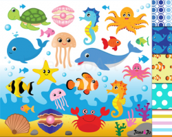 Ocean Animals Clipart,Ocean Theme,Under the Sea Clipart,Digital Paper  Background